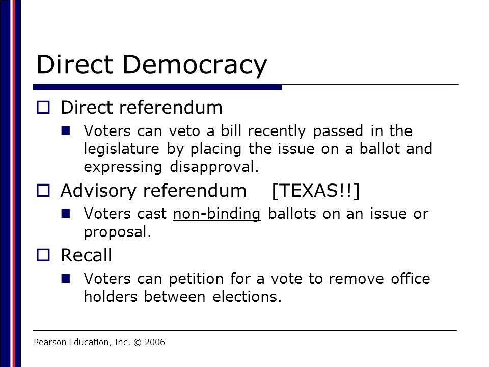 Direct Democracy Direct referendum Advisory referendum [TEXAS!!]